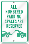 Numbered Parking Spaces Reserved Metal Sign