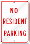 No Resident Parking Metal Sign