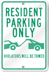 Resident Parking Only (Graphic) Metal Sign