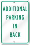 Additional Parking In Back Metal Sign