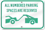 Horizontal Numbered Parking Spaces Reserved (Graphic) Sign