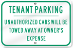 Horizontal Tenant Parking Metal Sign