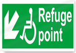 Disabled Refuge Point Down Left Safety Signs