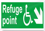 Disabled Refuge Point Down Right Safety Signs
