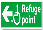 Disabled Refuge Point Left Safety Signs