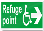 Disabled Refuge Point Right Safety Signs