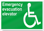 Emergency Evacuation Elevator Safety Signs