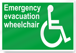 Emergency Evacuation Wheelchair Safety Signs