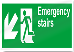 Emergency Stairs Down Left Safety Signs