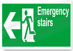 Emergency Stairs Left Safety Signs