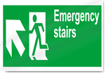 Emergency Stairs Up Left Safety Signs