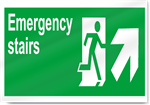 Emergency Stairs Up Right Safety Signs