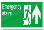 Emergency Stairs Up Safety Signs