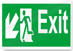 Exit Down Left Safety Signs