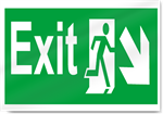 Exit Down Right Safety Signs