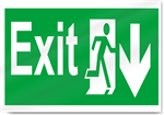 Exit Down Safety Signs