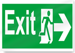 Exit Right Safety Signs