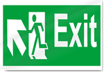 Exit Up Left Safety Signs