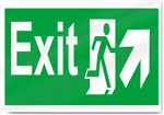 Exit Up Right Safety Signs