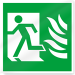 Fire Exit Symbol With Flames Left Safety Signs