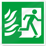 Fire Exit Symbol With Flames Right Safety Signs