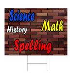 Science, Math, History, Spelling Vinyl Sign