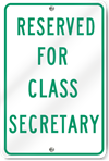 Reserved For Class Secretary Sign