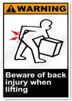 Beware Of Back Injury When Lifting Warning Signs