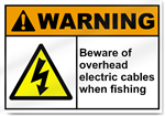 Beware Of Overhead Electric Cables When Fishing Warning Signs