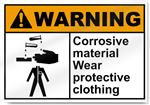 Corrosive Material Wear Protective Warning Signs