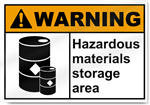 Hazardous Materials Storage Area Warning Signs