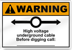 High Voltage Underground Cable Warning Signs