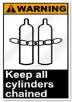 Keep All Cylinders Chained Warning Signs