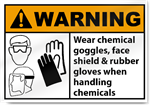 Wear Chemical Goggles Face Shield Warning Signs