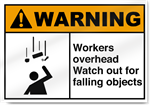 Workers Overhead Watch Out For Falling Objects Warning Signs