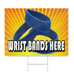 Wrist Bands Here Sign